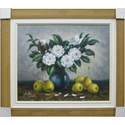 油畫(白色的花)